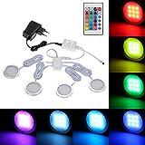 Lixada 4PCS RGB LED Kabinett Licht Installationssatz mit Fernbedienung für Bücherschrank Wandschrank, Dünne Runde Form Unterbauleuchte Farbändernde Dimmable Helligkeit Justierbar.