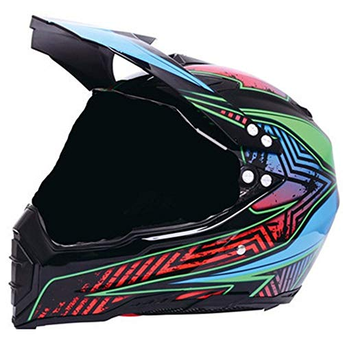 FAGavin Road Motorcycle Off-road Rally Helmet Locomotive Helmet Personality Comfortable Full-face Helmet Four Seasons - Starry Sky (Color : Black, Size : XXL)