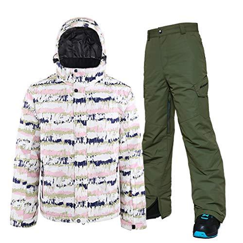HSYD Herren Skianzug Wasserdicht Winddicht Winter Outdoor Sports Schneejacke Hose Set Ski Onesie für Snowboard Bergsteigen Skifahren Ausrüstung Gr. XXL, grün