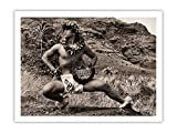 Hawaiian Male (Kane) Hula Dancer - Vintage Sepia Toned Photograph by Alan Houghton c.1960s - 100% Pure Carbon Archival Inks - 290gsm Bamboo Paper Fine Art Print 9x12in