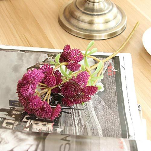 Künstliche Blume 5 Stück/Los Hohe Simulation 6 Köpfe Sukkulenten Blumenkohl Weichgummi Feines Obst Pflanzenstrauß Für Die Heimdekoration Kunstpflanzen Burgund