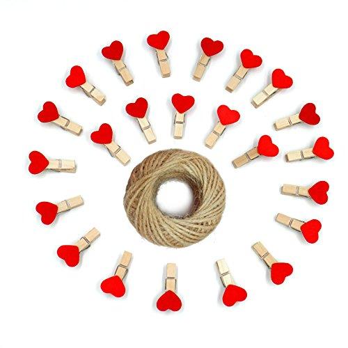 jijAcraft 100 Pezzi Mini Mollette di Legno Mollettine Decorative per Foto Matrimonio Artigianato con 30M Spago di Iuta (Rosso)