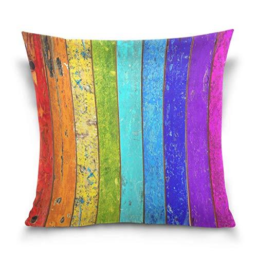 Asekngvo Mnsruu - Funda de Almohada Decorativa, Funda de cojín Cuadrada, tablones de Madera Coloridos, Funda de Almohada para sofá Cama Retro co
