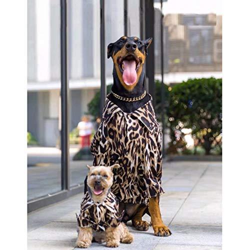 N/A Hundekleidung Fashion Pet Dog Leopard Shirt Für Kleine Mittelgroße Hunde Welpe Dobermann Schnauzer Mops Shirt Weste Kleidung Kostüm Kleine Mittlere Und Große Hundekleidung
