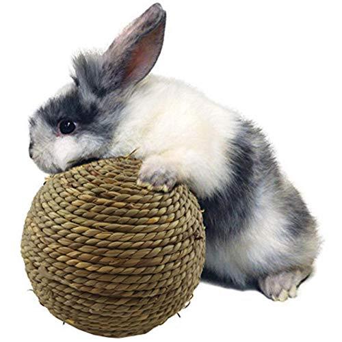 sfadf Pelotas para masticar, animales pequeños, juguete para masticar, conejos, cobayas, bola de hierba natural para la limpieza dental, es adecuada para gatos, conejos y pequeños roedores.