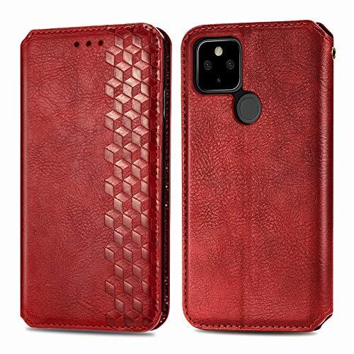 Compatible con Google Pixel 4a 4G/5G, Google Pixel 4a 4G/5G, funda de piel con tapa y cierre magnético, protección con tarjeta, Google Pixel 4a 5G, color rojo