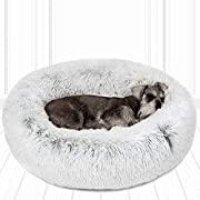 Friends Forever Coco Cat Bed, Faux Fur Dog Beds for Medium Small Dogs - Self Warming Indoor Round Pillow Cuddler, Medium, Ivory