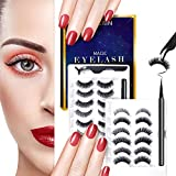 SPEERIN 12 Pairs 3D Magnetic Eyeliner and Eyelashes Kit No Glue Needed, False Lashes Magic the Easiest to Use, Fake Eyelashes With Natural Look, Waterproof Reusable Lashes