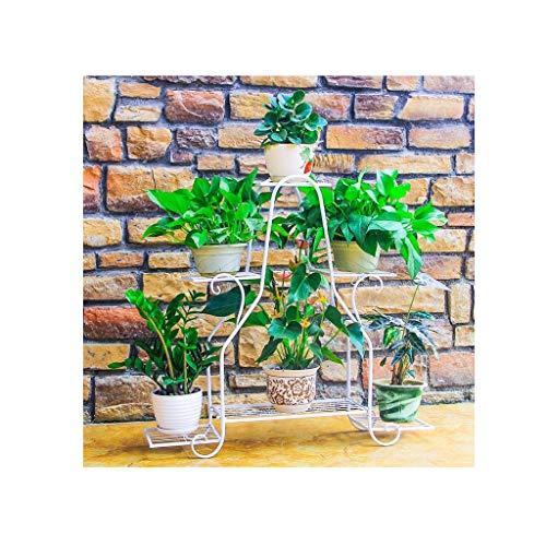 GJX-Stand de Fleurs Pot de Fleurs Support de Fleurs Multicouche Windowsill Desk Plante charnue Creative Iron Art Support de Fleurs pour Balcon (Color : White)