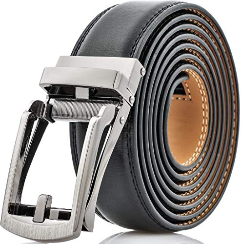 Marino Mens Genuine Leather Ratchet Dress Belt with Open Linxx Buckle - Bristle - Deep Charcoal - Adjustable from 28' to 44' Waist