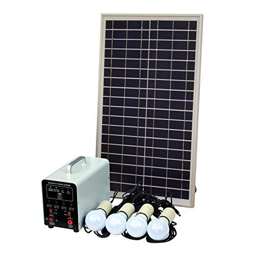 Sistema de iluminación solar (de 25 W con 4 luces LED de 5 W, panel solar, batería y cables, kit completo de iluminación solar para cobertizo, garaje, exterior, establos, barniz, vehículo o barco)