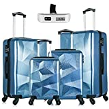 Omni PC Hardside Luggage Set, 4-Piece Lightweight Carry- on Suitcase Sets with Spinner Wheels in 18' 20' 24' 28' Free Luggage Scale Navy Blue