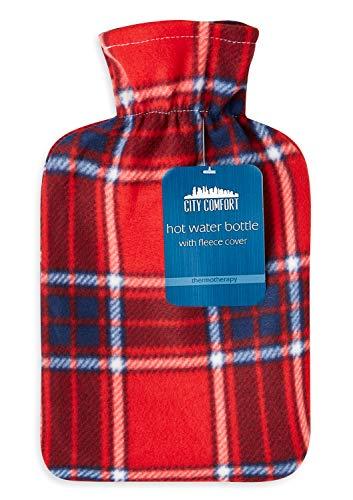 Bolsa de agua caliente con bolsa de agua caliente de 2 litros de caucho natural con hermosa funda suave con impresión suave Cubierta - Ayuda a brindar calidez y comodidad (cheque rojo)
