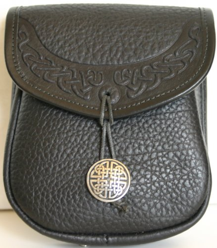 Celtic Border Leather Belt Pouch (Medium)