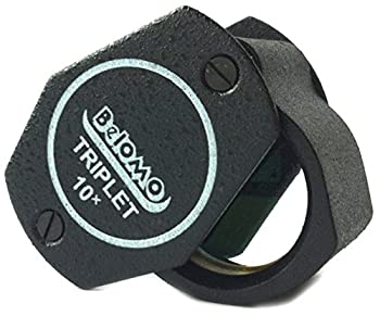 BelOMO 10x Triplet Jewelers Loupe Magnifier 21mm  .85   Optical Glass with Anti-Reflection Coating for a Bright Clear and Color Correct View Foldable Loupe for Gems Jewelry Coins and Trichomes