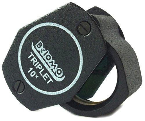 BelOMO Triplett Lupe, 10fach Juwelierlupe 21 mm. Optisches Glas mit Antireflexbeschichtung für eine helle, klare und farbkorrekte Sicht. Faltbare Lupe für Edelsteine, Schmuck, Münzen und Trichome.