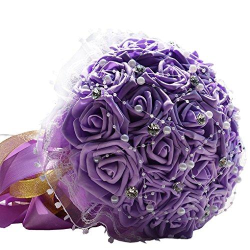 Quibine Bouquet de 18 Roses Artificielles ornée Strass perle