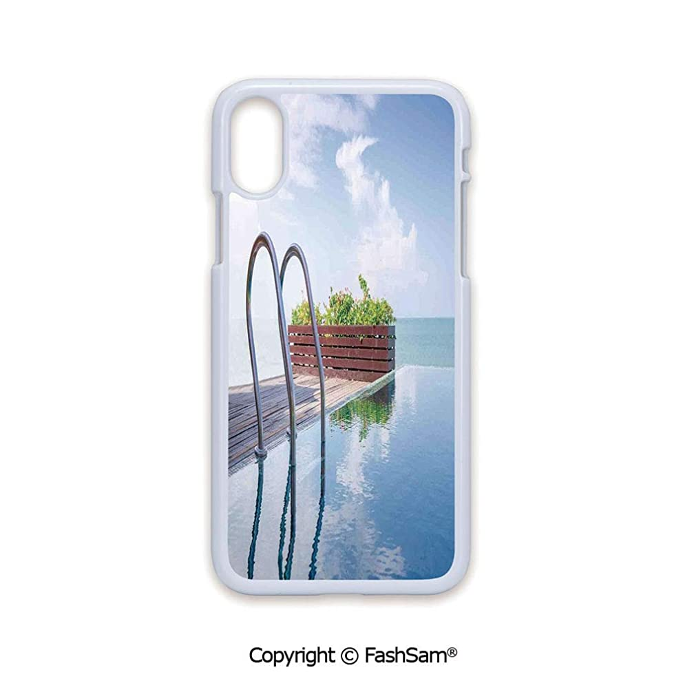 Plastic Rigid Mobile Phone case Compatible with iPhone X Black Edge Swimming Pool Caribbean Poolside Plants Summertime Traveling Relaxing Luxurious 2D Print Hard Plastic Phone Case