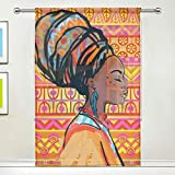 ISAOA Cortina de Tul Transparente, Retrato de Hermosa Mujer Africana con Pendientes (Cortina de Ventana para salón/Dormitorio Ventana hogar Moda y decoración, Panel único, 52 x 84 Pulgadas