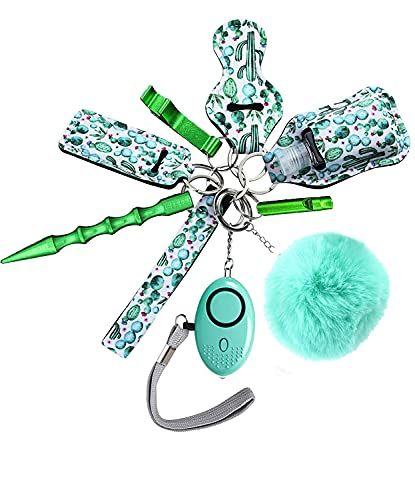 Flymind Safety Keychain Set for Women, Self Defense Keychain Set for Woman, Safety Keychain Accessories with Window Breaker Tool, Lipstick Holder, Hand Sanitizer Holder