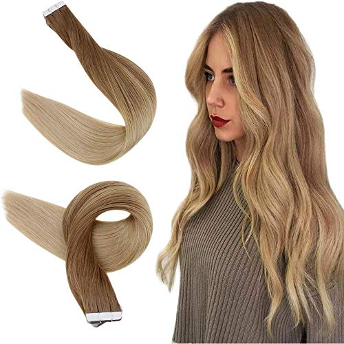 Easyouth Hair Human Extensions Tape 18zoll 40g pro Packung Goldbraune Mischung mit Goldblond Haare Extension Tape Blonde Tape Extensions