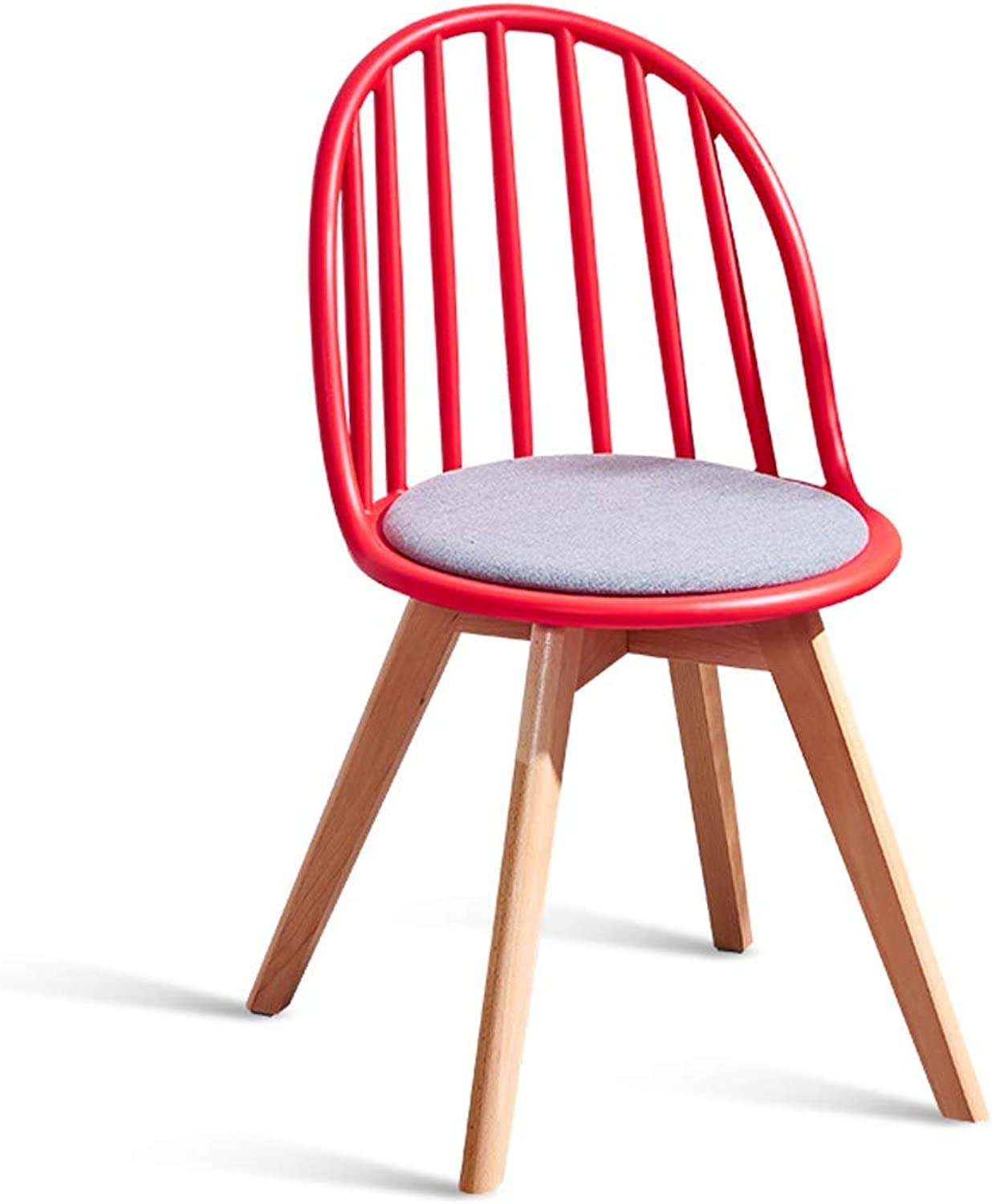 Nordic Solid Wood Dining Chair Home Back Chair Restaurant Modern Minimalist Windsor Chair Lazy Leisure Chair Stool Red