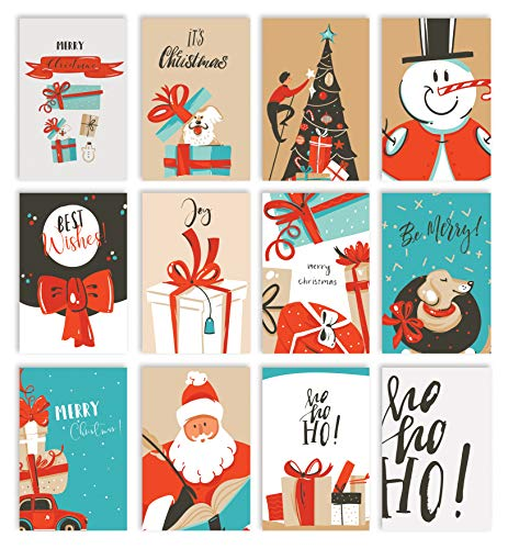 Christmas Holiday Greeting Card Set, 100 Pack, 4 x 6 Inch, 12 Assorted Custom Illustrative Designs, Blank Inside, by Better Office Products, Complete with Envelopes, 100 Christmas Cards Set