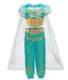 Le SSara Jasmine Princesa Traje para Niños Lentejuelas Halloween Aladdin Arabian Traje Conjunto Vestirpara para Las Niñas (100 (3-4 Years), D71-green)