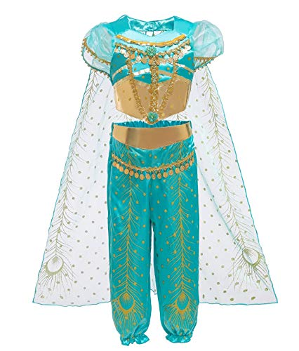 Le SSara Jasmin Prinzessin Kostüm für Kinder Pailletten Halloween Aladdin Arabischen Kostüm Set Dress Up für Mädchen (110 (4-5 Years), D71-green)