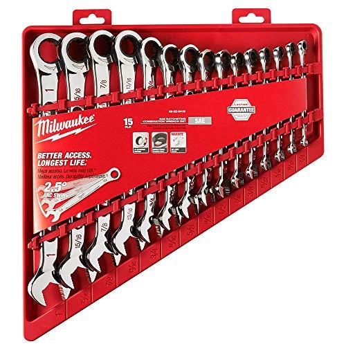 Milwaukee SAE Combination Ratcheting Wrench Mechanics Tool Set (15-Piece)