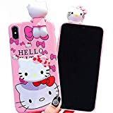 3D Hello Kitty Soft Silicone Protector Case Gel Shockproof Peeking Friend Phone Cover with Lanyard Strap & Hand Holder Stand ~ Estuche Fundas Cobertor (iPhone 6 Plus / 6S Plus)