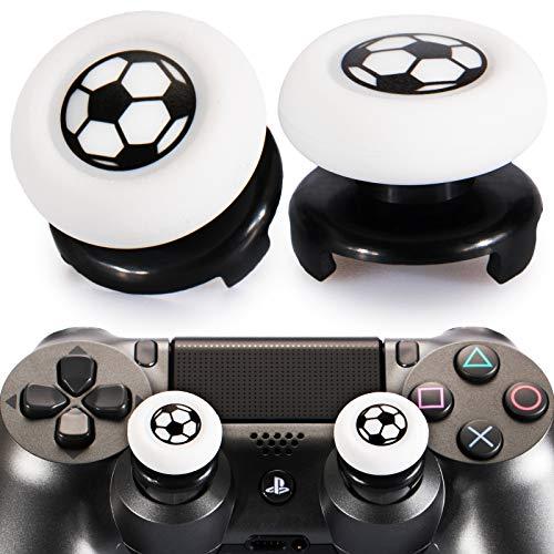 Playrealm FPS Thumbstick Grip Agarres para el Pulgar Extensor Y Impresión Caucho Silicona Apretón Cubrir 2 juegos para PS4 (Fútbol)