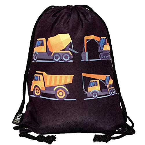 HECKBO® Kinder Jungen Turnbeutel | schwarz, beidseitig mit 4 Baufahrzeugen Bedruckt | für Kindergarten, Krippe, Reise, Sport | Rucksack, Spieltasche, Sportbeutel, Schuhbeutel