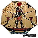 Religión del Antiguo Egipto Manual Plegable Triple Plegable Paraguas de Lluvia de Viaje Protección UV Fuerte Resistente al Viento