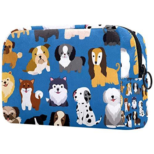 Makeup Bag Travel Cosmetic Bag Pouch Purse Handbag with Zipper - Cute Dog Puppy Illustration