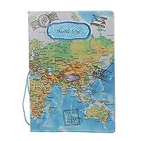 PULABO パスIDカード保護カバーパスポートホルダーケースポータブルパスポートプロテクターヴィンテージ世界地図パスポートホルダートラベルプロテクター1個シンプルで使用簡単 使いやすい,高級な