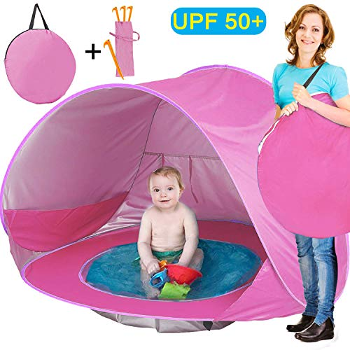 TURNMEON Baby Beach Tent, Pop Up Portable Sun Shelter with Pool, 50+ UPF UV Protection & Waterproof 300MM, Summer Outdoor Tent for Aged 0-4 Baby Kids Parks Beach Shade (Pink)