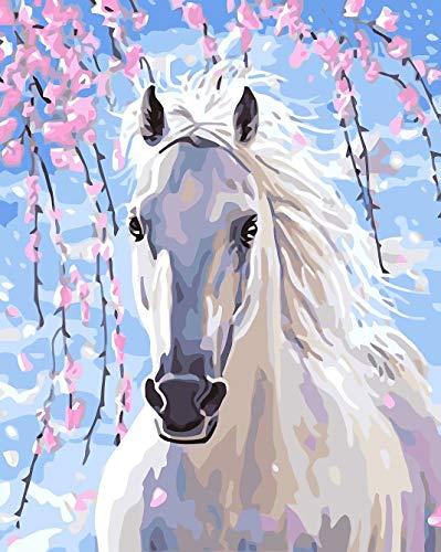 WISKALON DIY pintura al óleo Caballo Blanco, Pintar por Numeros para Adultos y principiantes pintura por números con Pinceles y Pinturas Sin Marco 16 * 20 Pulgadas