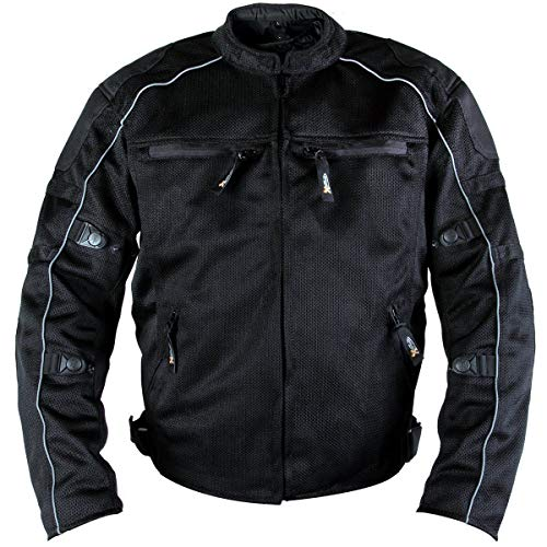 Xelement XS6557 'Troubled' Men's Black All Weather Mesh Level 3 CE Armored Motorcycle Jacket - 3X-Large