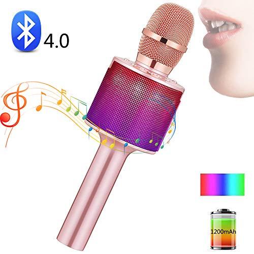 SHENGY draadloze microfoon luidspreker karaoke Bluetooth draagbaar voor smartphone PC afspelen muziek muziek voor outdoor party roze