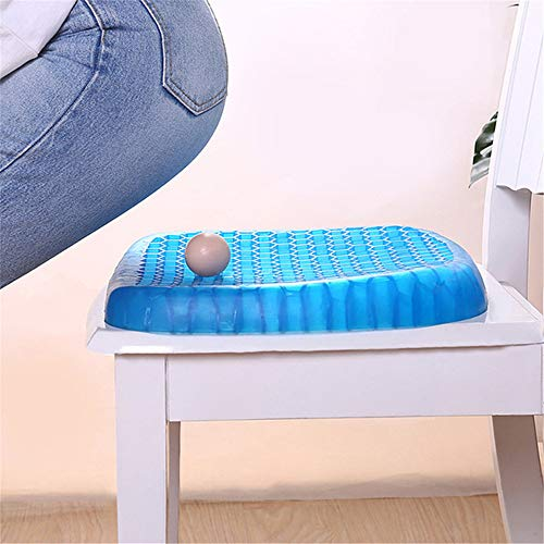 Elastic Gel Seat Cushion, Silicone Cooling Mat Egg Support Non Slip Summer Ice Pad for Chair Car Office Study Children's Bedroom Seat Cushion,32 * 30 * 4cm