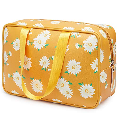 Toiletry Bag Large Dopp Kit Cosmetic Bag Travel Makeup Bag Organizer for Women and Girls (Large, Multiple Yellow Daisy)