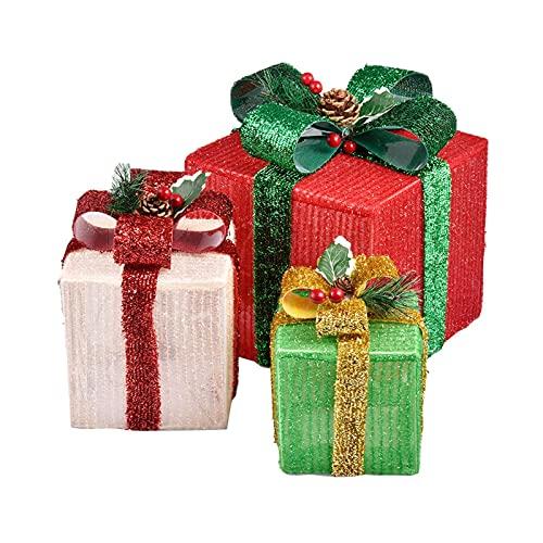 yingmu Scatole Regalo per Illuminazione Natalizia 3 Pezzi, Scatole per Fiocchi di Neve Alimentate A Batteria LED con Luce Decorativa per Fiocchi, Regalo di Pacchi di Natale novità Lucine per Decor
