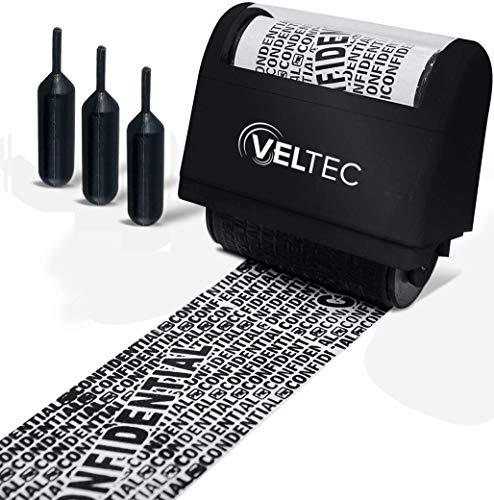 Veltec Identity Protection Address Blocker Anti-Theft Roller Guard Stamp Wide 3 Pack Refills (Black)