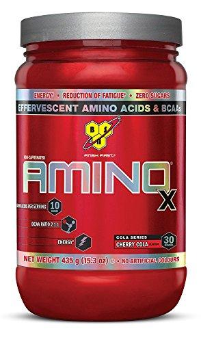 BSN Amino X BCAA poeder, suikervrije aminozuren complex hoge dosis met vitamine D, vitamine B6, arginine, taurine en alanine, Cherry Cola, 30 porties, 435 g