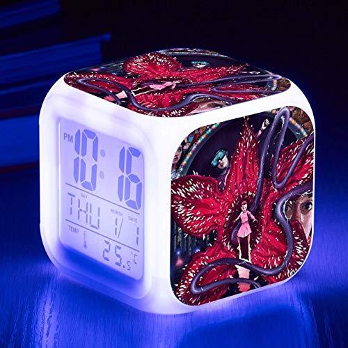 fdgdfgd Números LED de Reloj Despertador con termómetro, Reloj Despertador de Estudiante táctil de luz Nocturna de Dibujos Animados con 7 variaciones de Color