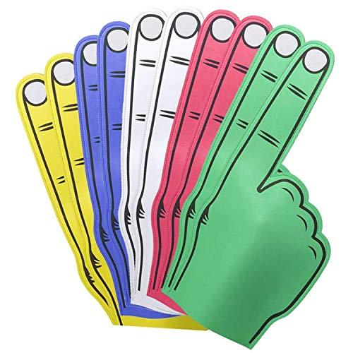 FUN FAN LINE - Conjunto Multicolor de Manos Gigantes Goma Eva. Pack para celebraciones, bodas, fiestas y eventos deportivos. Impresión a doble cara y amplio espacio en el interior. (10 unidades)