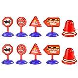 TOYANDONA 10 Pièces Rue Signes Portique Simulation Modèles Signe de La Circulation Route Cône Enfants Bricolage Jouet Barrage Routier Signes Éducatifs Jouets pour Enfants