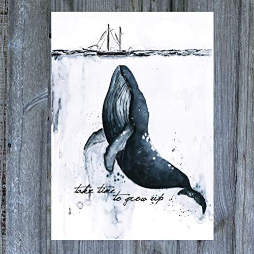 Aquarell Wal Postkarte Buckelwal Geburtstagskarte Handmade - Take time to grow up- Ozean Grußkarte- Geschenkidee