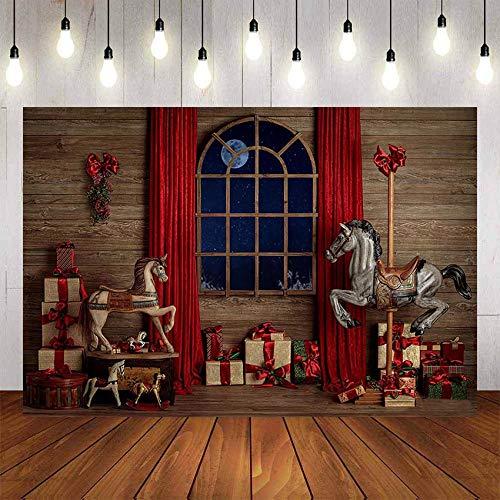 Feliz Navidad Fondo de fotografía Árbol de Navidad Ventana Juguete Regalo Vintage Pared de Madera Guirnalda Telón de Fondo Estudio fotográfico A3 7x5ft / 2.1x1.5m